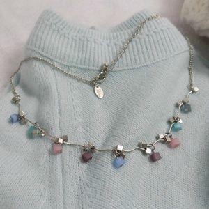 Lia Sophia Pastel Geometric Beads Silver Necklace